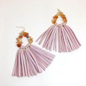 NWOT Handmade Pink Leather Tassels  Earrings
